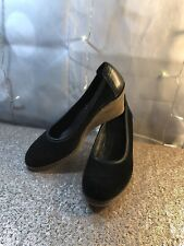 the Flexx Black Suede Leather Wedge Heels Womens Size 7 Shoes