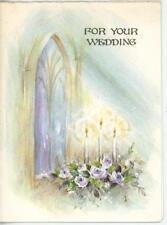 VINTAGE PURPLE ROSES CANDLES CHURCH WINDOWS SUNBEAMS WEDDING PRINT GREETING CARD