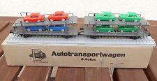 Dahmer Piko DDR traccia h0 AUTO CARRELLO TRASPORTO CON 8 Trabant lamiera rarità in scatola originale