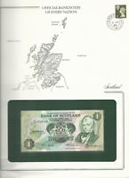 Banknotes of Every Nation Scotland P-111f.4 1986 1 Pound UNC prefix D/91*