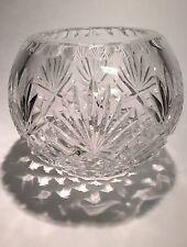 Fan over Diamond Cut Lead Crystal Rose Bowl Vase Round 16 Point Star Cut Base