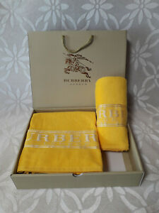 Set 2pcs. BURBERRY LONDON Luxury Towel with Embroidered Logo Yellow100% Cotton
