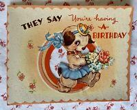 Vtg. 1940s UNUSED Birthday Greeting Card Anthropomorphic Girl Dog Bonnet Flowers