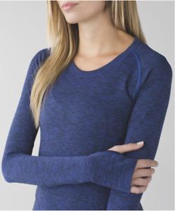 Lululemon Size 10 Swiftly Tech Long Sleeve Heathered Sapphire Blue EUC