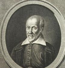 Gravure XIX eportrait de Pierre Charron  théologien, un philosophe R Delvaux sc