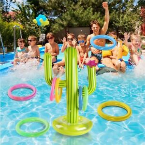 Pool Ring Toss Game Water Toy Set Inflatable Cactus Floating Summer Beach Swim