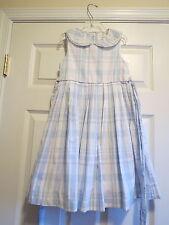 Maggie and Zoe girls 8 rear bow blue white sleeveless summer dress collar church