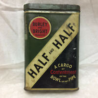 Vintage Tin ONLY Half and Half Burley and Bright Hinged Lid Cargo of Contentment