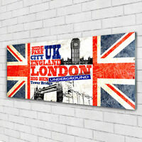 Print on Glass Wall art 125x50 Picture Image London Flag Art