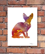 """Sphynx Cat Abstract Watercolor 11"""" x 14"""" Art Print by Artist Dj Rogers"""