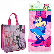 Disney Minnie Mouse Kids Girls Pink Beach Hooded Towel Poncho + Bonus Bag NEW