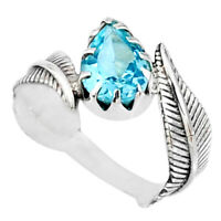 2.53cts Natural Blue Topaz 925 Sterling Silver Solitaire Ring Size 7.5 R67441