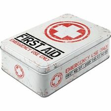 Vintage Style Retro Lidded Storage Tin First Aid USA Garage Style