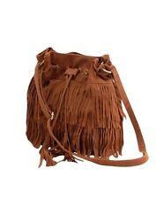 Sac bourse à frange fourre tout camel marron faux daim bandoulière epaule - bag