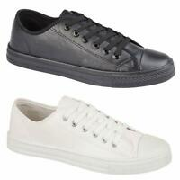Mens Lace Up Casual Retro Faux Leather Deck Plimsolls Trainers Pumps Shoes Size