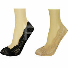 NEW WOMENS LADIES INVISIBLE SECRET FOOTSIES LACE LACEY TRAINER LINER SOCKS SIZE