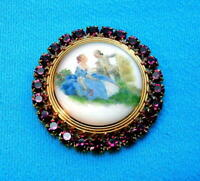 Vintage Style Czech ALL Glass Rhinestone Pin Brooch #T062 - SIGNED
