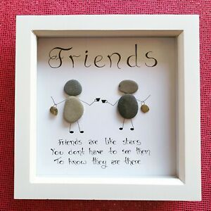 Large frame Personalised Pebble Art Friends Friendship Bestie Best Friends
