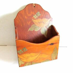 """Hand Crafted Swedish Peasantry Style Wall Pocket Mail Holder 10.75"""" tall FREE SH"""