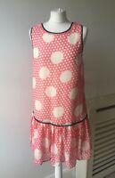 River Island Pink White Polka Dot Sequin Drop WaistTunic Dress Sz 12 Rockabilly