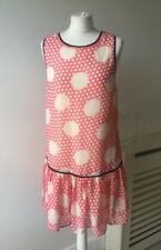 River Island Pink White Polka Dot Sequin Tunic Dress Sz 12 Rockabilly Pin up