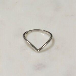 Genuine 925 Sterling Silver Chevron V shape Stacking Ring Girls Women  Size 7,8