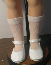 """WHITE VINYL ANKLE STRAP w/BUCKLE SHOES & SOCKS fit ST-19"""" SHIRLEY TEMPLE DOLL"""