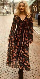 Ex Topshop Boho Chic Summer Maxi Long Sleeve Dress Size 6 - 12 (W15.49)