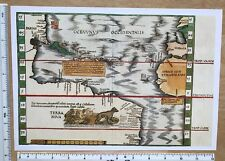 "Antique Old Vintage MAP 1500's: New World 1513: Waldseemuller: 12.5 X 9"" Reprint"