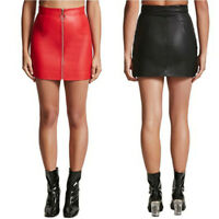 Women PU Wet Leather Look Skirt Sexy Zip Skirt Mini Pencil Bodycon Skirt Fashion