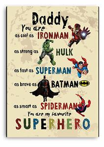 DADDY SIGN, DADDY Superhero Father`s day Gift, Dad Batman,Hulk, Wooden Plaque