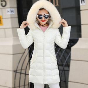 New Winter Ladies Women Down Cotton Fur Collar Hooded Coat Warm Jacket Parka