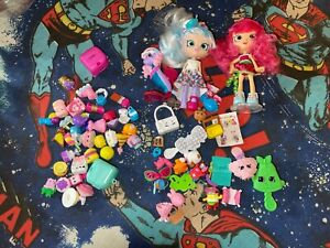 """SHOPKINS SHOPPIES Lot of 2 Dolls and Lot of Accessories 4"""""""