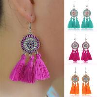 Women Vintage Bohemian Boho Long Tassel  Crystal Jewelry Dangle Stud Earrings