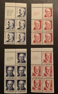 1972 Prime Ministers Set Booklet Panes MNH Australian Stamp
