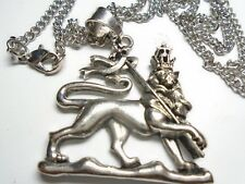 """SILVER  LION OF JUDAH 27"""" RASTA necklace LARGE 1.75 inch high HI QUALITY""""A"""" USA."""