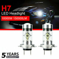 2x H7 10000W 150000LM Car LED headlight COB Kits Fog light 6000K Super White