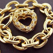 B6 GENUINE REAL 14k YELLOW VERMEIL GOLD DIAMOND SIMULATED PADLOCK SOLID BRACELET