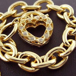 Bracelet Real 14k Yellow Vermeil Gold Diamond Simulated Padlock Solid Design