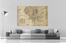 The Lord of the Rings Map Seigneur Des Anneaux Carte Art Poster Grand format A0