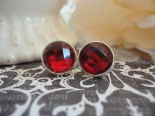 Faceted Post Earrings, Red Garnet, Jewel Cabochon, 10mm Stud Earrings