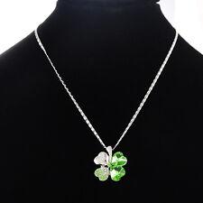 1 Collier Chaîne Pendentif Trèfle Strass Vert Bijoux Mode 41.4cm