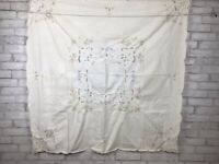 """Vintage White Cotton Tablecloth With Cutouts and Floral Embroidery 49X50"""""""