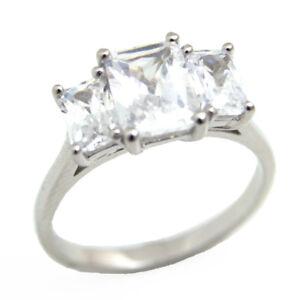 Trilogy Ring Diamond Unique 3ct Emerald Cut Sterling Silver