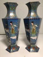 """Rare 8"""" Tall Chinese  CLOISONNÉ  Brass Hand Painted  Pair Of Vases Unique"""