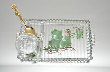Vintage Glass Tea Set Hand Painted Flowers Set of 3 Tea Cups with Matching Trays