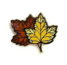 Hallmark Pin Brooch Fall Leaves Autumn Cloisonne Yellow Orange Gold Tone 1.25""