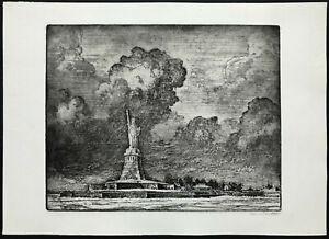 NEW YORK HARBOR Vintage Etching ~ EDWARD C. SMITH ~ American LIBERTY ISLAND