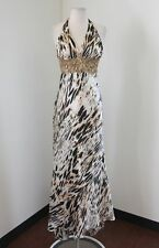 White Olive Black Abstract Beaded Sequin Prom Dress Formal Evening Gown 1 2 Gold