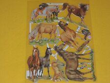 1x Poesiebilder Oblaten Pferde 199 Glanzbilder Wildpferde braun Fohlen Pony